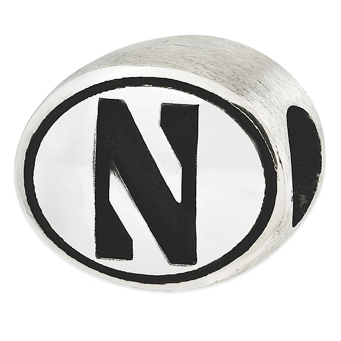 Alternate image 1 for Sterling Silver Collegiate Northwestern University Antiqued Charm Bead