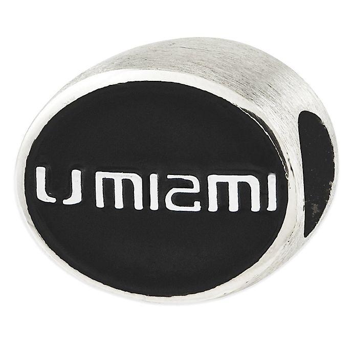 Alternate image 1 for Sterling Silver Collegiate University of Miami Black Enameled Charm Bead