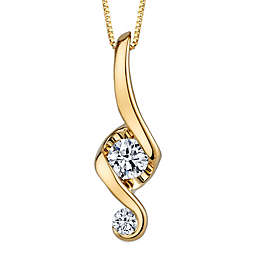 Juno Lucina 14K Yellow Gold Diamond 18-Inch Chain Love and Protection Pendant Necklace