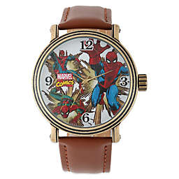 Marvel Men's 43mm Vintage Spider-Man Watch in Gold with Brown Leather Strap