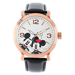 Disney® Mickey & Minnie Mouse Men's 43mm Dial Watch in Rose Goldtone with Black Leather Strap