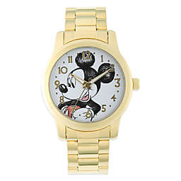 Disney® Mickey Mouse Men's 38mm Sketched White Dial Watch in Gold