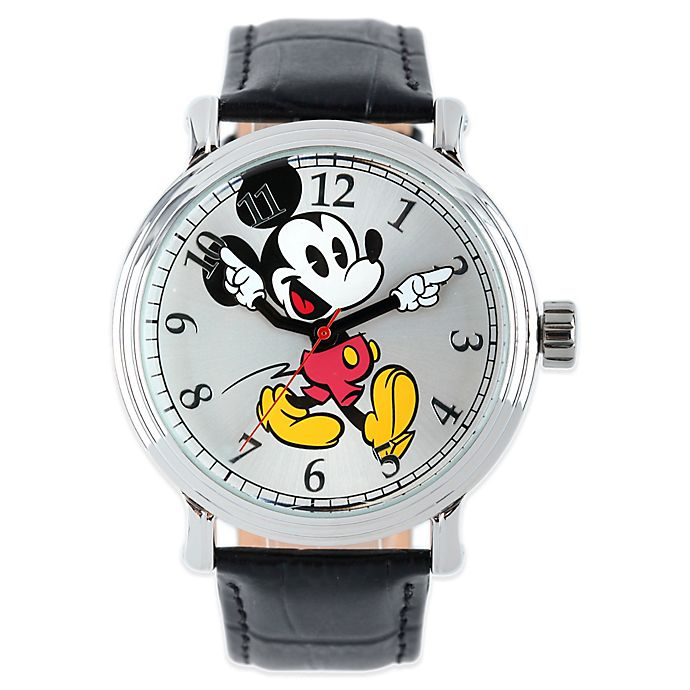 Alternate image 1 for Disney® Mickey Mouse Men's 43mm Dancing Arms Silver Dial Watch with Black Leather Strap