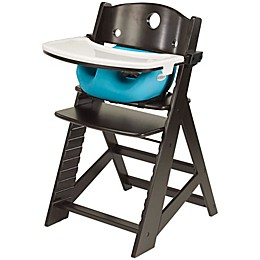 Keekaroo® Height Right High Chair Espresso with Aqua Infant Insert and Tray