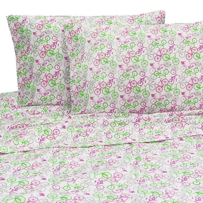 Melanie and Max Bikes Twin Sheet Set in Pink | Bed Bath & Beyond