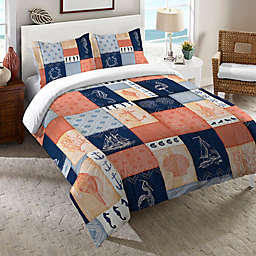 Laural Home® Coastal Duvet Cover in Coral/Navy
