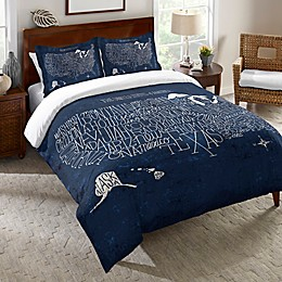 Laural Home® Hand Lettered US Map Blueprint Standard Pillow Sham in Blue