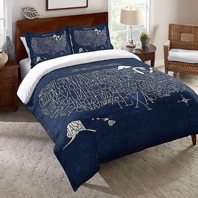 Alternate image 1 for Laural Home® Hand Lettered US Map Blueprint Duvet Cover in Blue