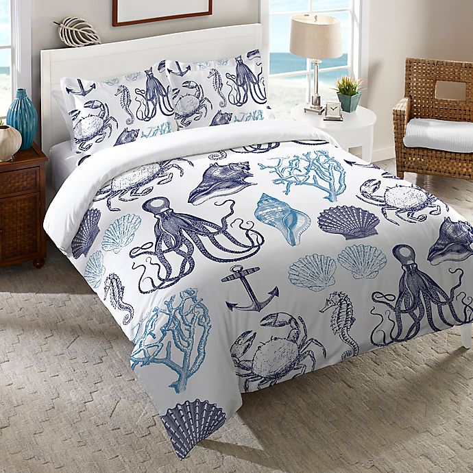 Alternate image 1 for Laural Home® Navy Coastal Creatures Duvet Cover in Blue