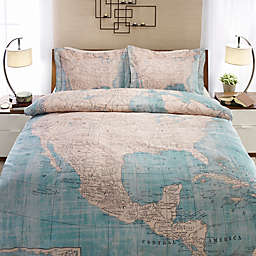 Laural Home® North American Map Duvet Cover in Beige