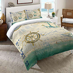Laural Home® Mariner's Sentiment Duvet Cover in Blue