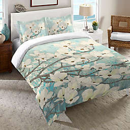 Laural Home® Dogwood Blossoms Duvet Cover in Blue