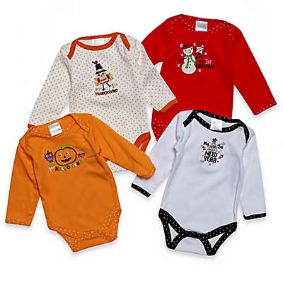 Baby Gear 4-Pack Long Sleeve Holiday Bodysuits