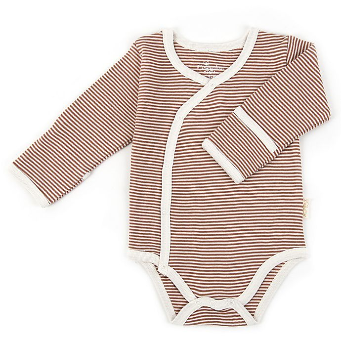 Alternate image 1 for Tadpoles™ by Sleeping Partners Organic Cotton Long Sleeve Kimono Striped Bodysuit in Cocoa