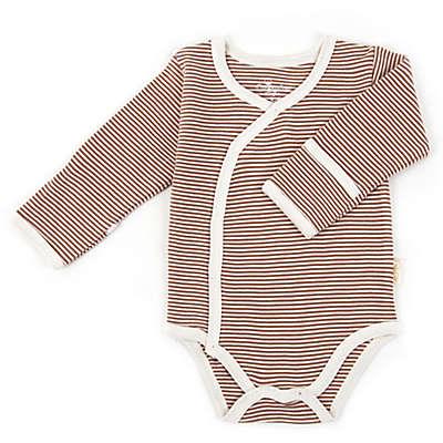 Tadpoles™ by Sleeping Partners Organic Cotton Long Sleeve Kimono Striped Bodysuit in Cocoa