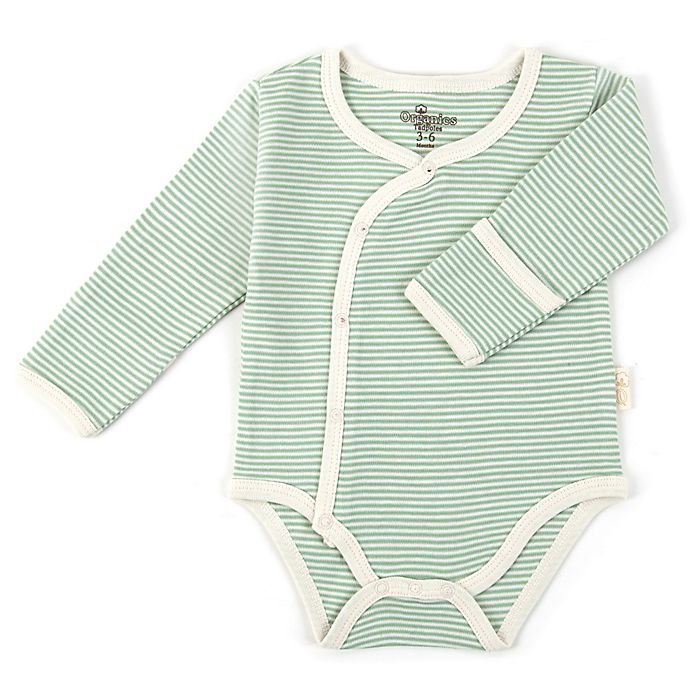 Alternate image 1 for Tadpoles™ by Sleeping Partners Organic Cotton Long Sleeve Kimono Striped Bodysuit in Sage
