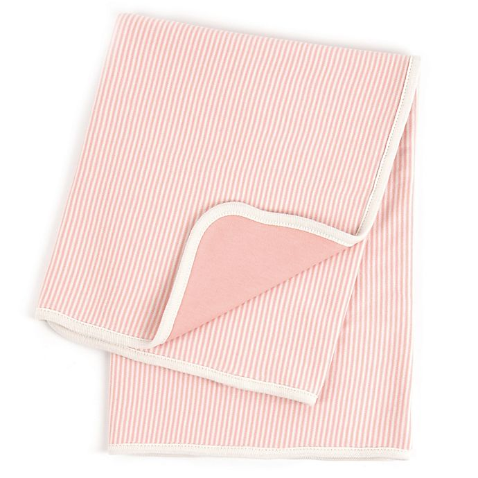 Alternate image 1 for Tadpoles™ by Sleeping Partners Pinstripe Organic Cotton Receiving Blanket in Coral