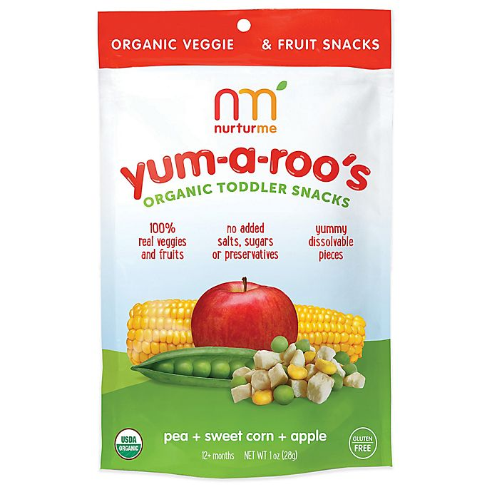 Alternate image 1 for NurturMe Yum-a-Roo's 1 oz. Pea + Sweet Corn + Apple Organic Toddler Snacks