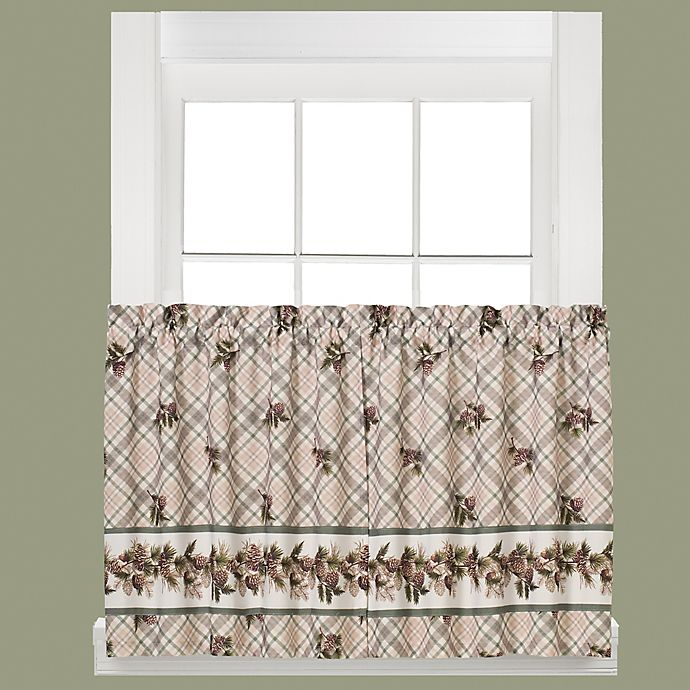 Alternate image 1 for Pinecone Plaid 36-Inch Window Curtain Tier Pair