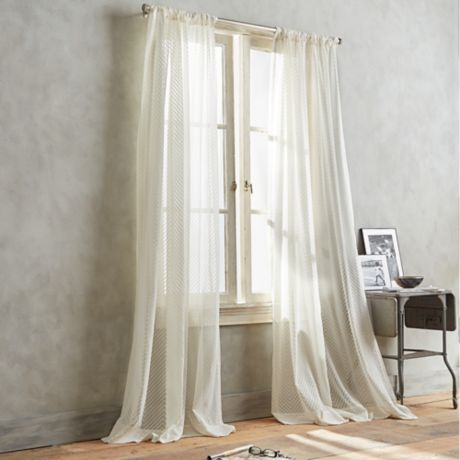 Dkny Modern Lines Sheer Window Curtain Panel In Ivory