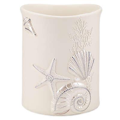 Avanti Sequin Shell Wastebasket in Ivory