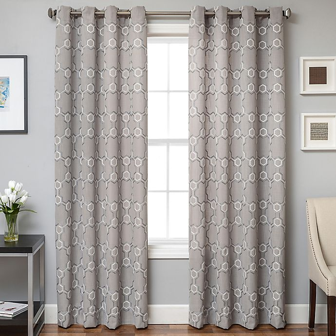 Alternate image 1 for Lindbergh Grommet Top 96-Inch Window Curtain Panel in Grey/White
