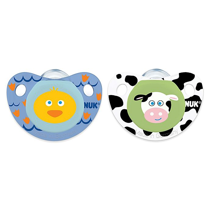 Alternate image 1 for NUK® Cute as a Button Duck and Cow 0-6M 4-Pack Orthodontic Pacifiers