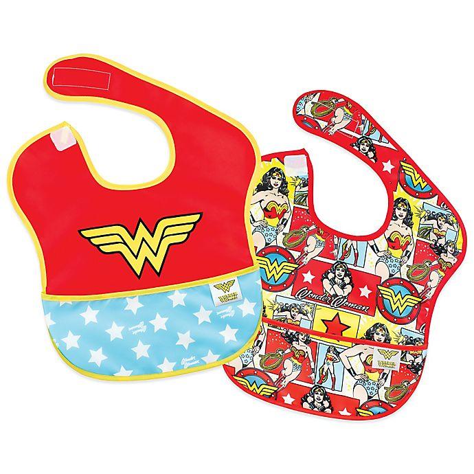 Alternate image 1 for Bumkins® DC Comics 2-Pack Wonder Woman Logo/Comic SuperBib