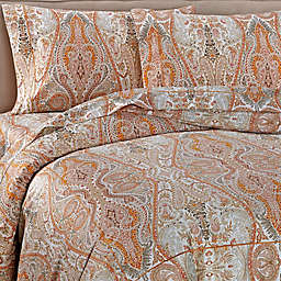 Bellino Fine Linens® Paisley Duvet Cover in Orange