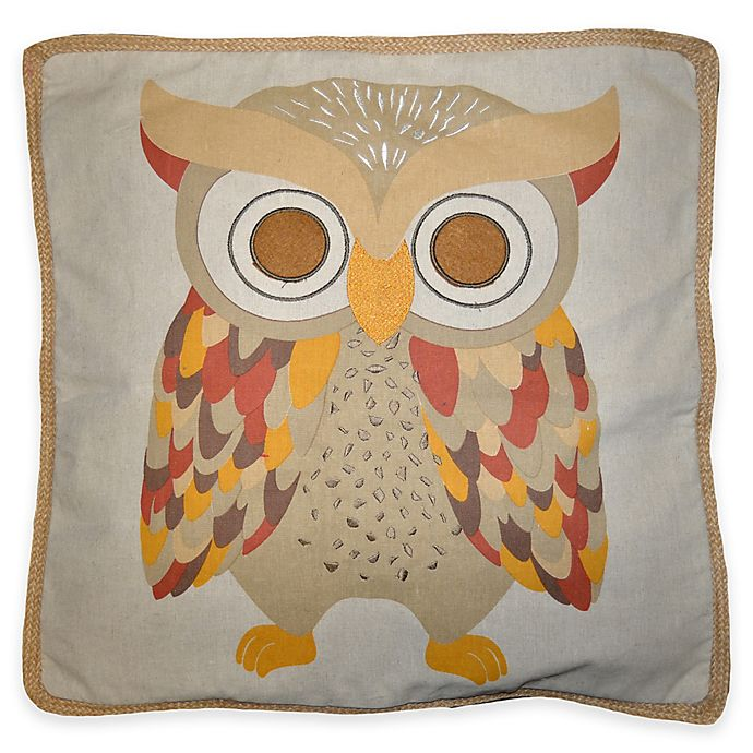 Alternate image 1 for Ollie Owl 18-Inch Square Throw Pillow in Natural