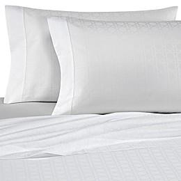 Bellino Fine Linens® Viennese Netting Jacquard Cotton Flat Sheet in White
