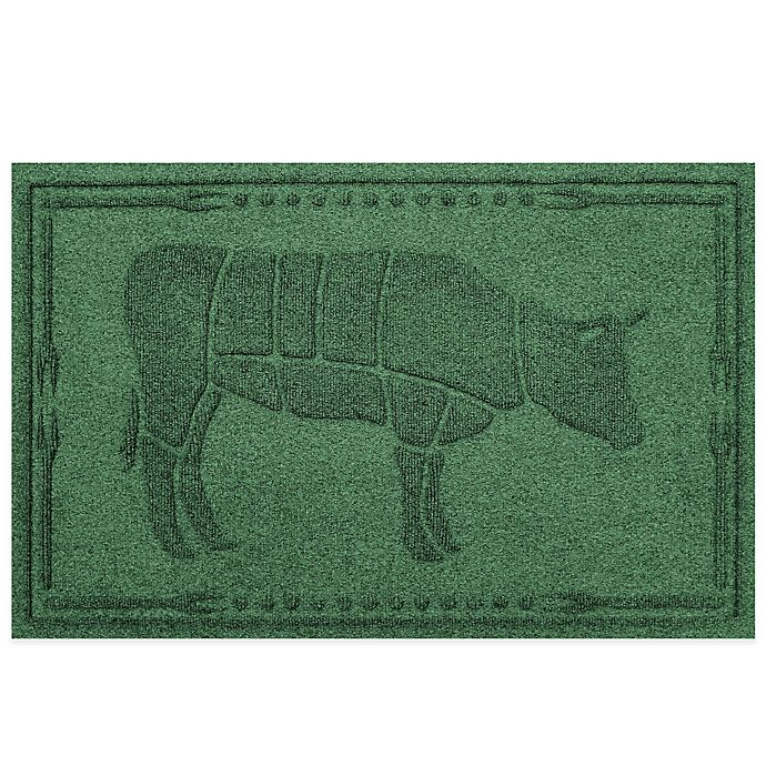 Alternate image 1 for Weather Guard™ 23-Inch x 35-Inch Cow BBQ Mat in Light Green