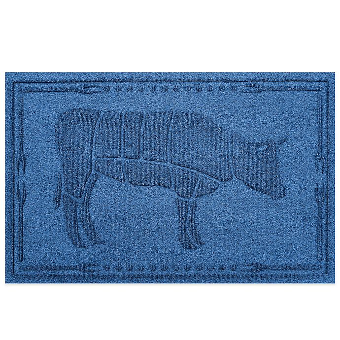 Alternate image 1 for Weather Guard™ 23-Inch x 35-Inch Cow BBQ Mat in Medium Blue