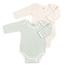 Tadpoles™ by Sleeping Partners 2-Pack Organic Cotton Long Sleeve Bodysuits in Sage/White