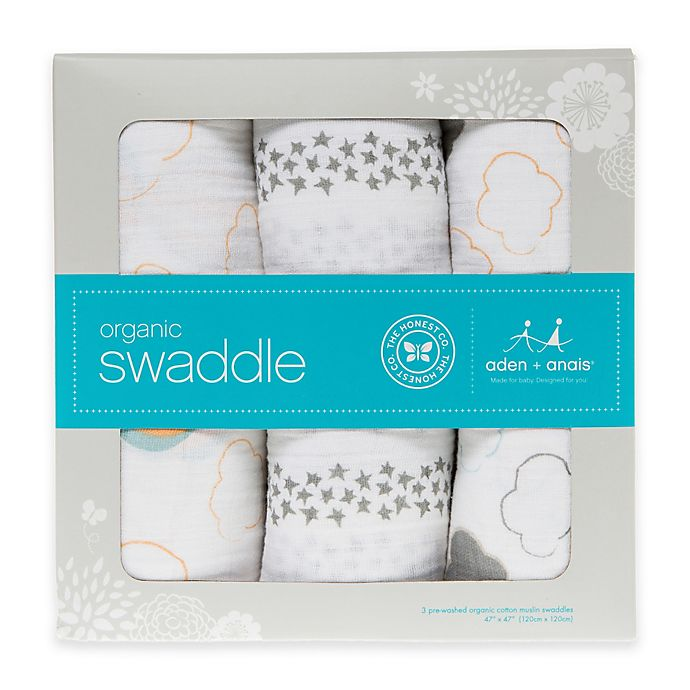 Alternate image 1 for Honest in Collaboration with Aden + Anais® 3-Pack Organic Cotton Up in the Air Swaddles