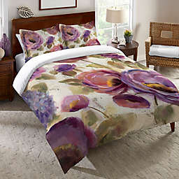 Laural Home® Blue & Purple Flower Song King Duvet Cover in Purple