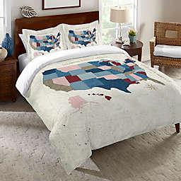 Laural Home® Modern Vintage Map King Duvet Cover in Blue