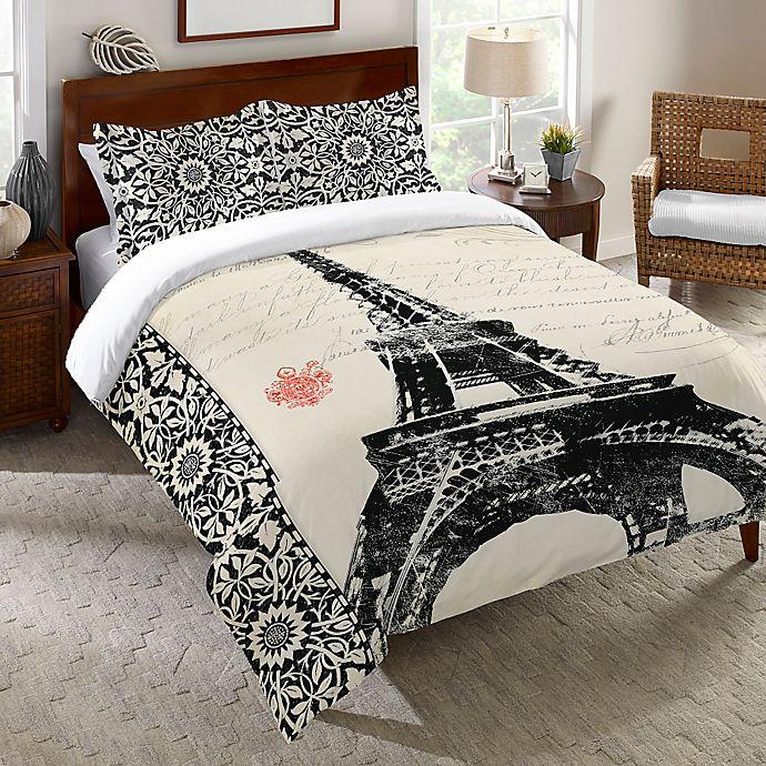Alternate image 1 for Laural Home® Eiffel Tower Border Pillow Sham in White
