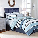 Cabana Stripe 8-Piece Reversible Full Comforter Set in Blue