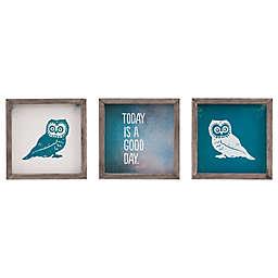 Evangeline Taylor Wise As An Owl 3-Piece Framed Gel Coat Wall Art