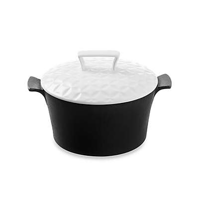Typhoon® Skandi Cast Iron 0.3 qt. Covered Mini Casserole in Black/White
