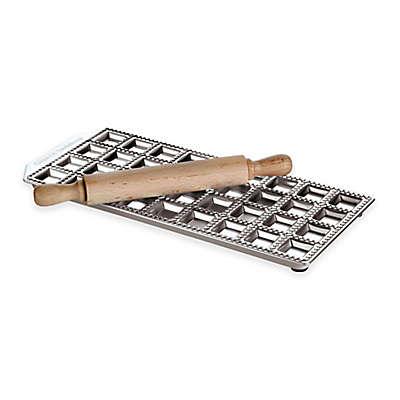 Paderno® Ethnic Cuisine 36-Imprint Ravioli Mold and Rolling Pin Set