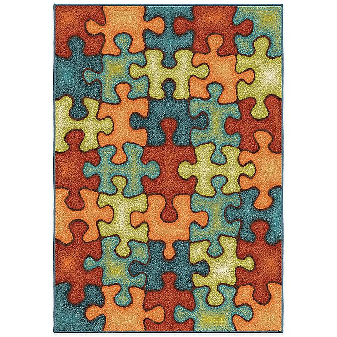 Alternate image 1 for Aria Rugs Kids Court 3-Foot 10-Inch x 5-Foot 1-Inch I'm Puzzled Rug