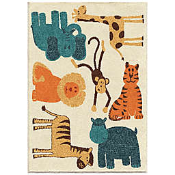 Aria Rugs Kids Court 3-Foot 10-Inch x 5-Foot 1-Inch Safari Rug in Beige