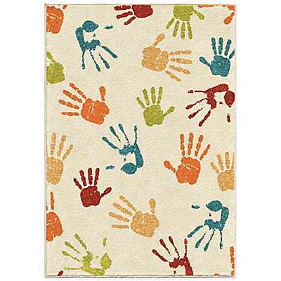 Aria Rugs Kids Court Handprints Rug in Ivory