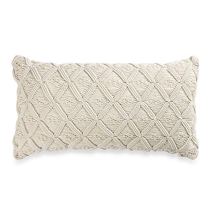 Alternate image 1 for Wamsutta® Vintage Washed Linen Macramé Oblong Throw Pillow
