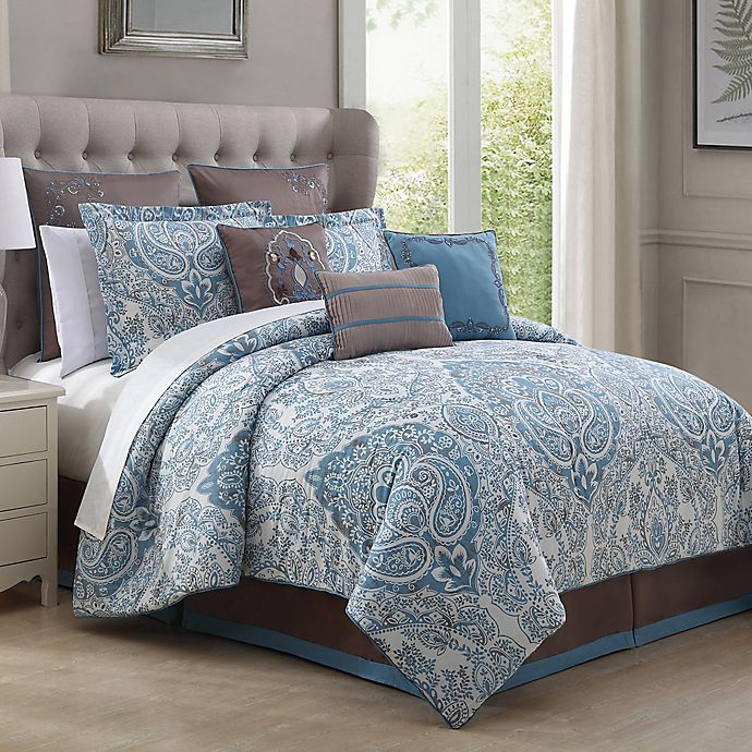 Bedroom Lighting Walmart Red And Blue Bedroom Teenage Bedroom Accessories Very Tiny Bedroom Design Ideas: Donatella 9-Piece Comforter Set In Light Blue