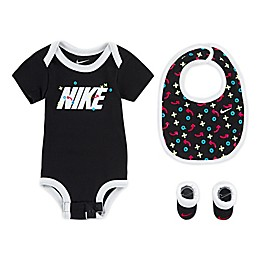 Nike® Size 0-6M 3-Piece XO Bodysuit, Bib, and Booties Set in Black