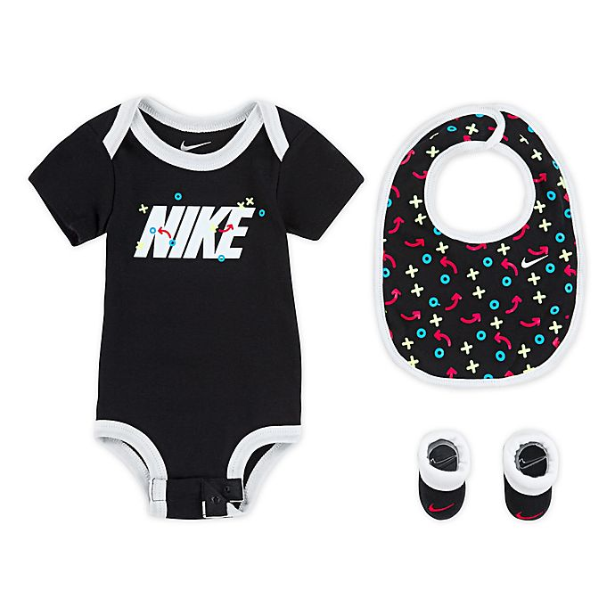 Alternate image 1 for Nike® Size 0-6M 3-Piece XO Bodysuit, Bib, and Booties Set in Black
