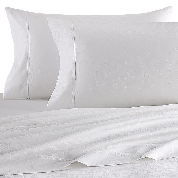 Alternate image 1 for Platinum Collection Jacquard Vine 400-Thread-Count Queen Sheet Set in White